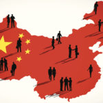 Vector of Chinese Flag and a Group of Business People