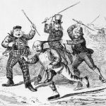 A cartoon from the Canadian Illustrated News depicting a Chinese worker being beaten by Uncle Sam and two other men_